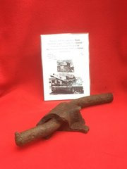 Track link pin with link section battle damaged from German Tiger 1 Tank recovered from the Falaise Pocket in Normandy from the 1944 Summer battlefield