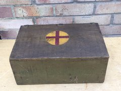 US Prune box converted to use as a medical box nicely painted and marked troop made by either Germans,French or British found on the Somme battlefield