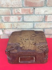 German Tellermine 42 carry case with Desert camouflage paintwork lots of it,markings,paper label remains,perfect condition inside found in Normandy from 1944 battlefield