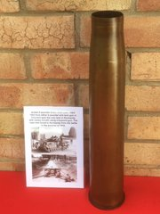British 6 pounder brass shell case,nice condition,original markings dated 1943 used by Churchill Tank or Anti Tank gun found in Normandy 1944 battlefield
