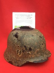 Very Rare German SS Totenkopf Division soldiers M40 helmet fantastic single decal with recovery photo recovered in the Demyansk Pocket in Russia 1942 battlefield