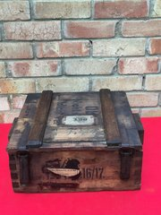 German artillery shell head wooden ammunition crate this crate carried a variety of different fuses it is dated 1916-1917 very nice condition with labels found on the Somme