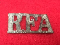 Royal Field Artillery shoulder title recovered from Thiepval on The Somme battlefield of 1916