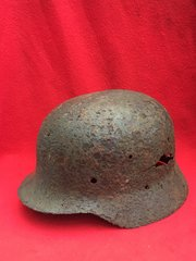 German Soldiers M35 Helmet lot of green paint remains,part decal,blast damage recovered the Stalingrad battlefield 1942-1943 in Russia