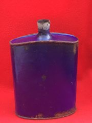 British Soldiers Water Bottle which still its original blue colour recovered from the battlefield at Passchendaele from the 1917 battle part of the third battle of Ypres