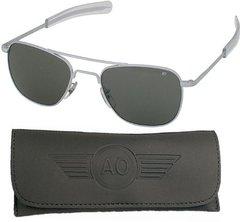 AO Eyewear Original Pilot Aviator Sunglasses New W/case Matte Chrome OPT-0201