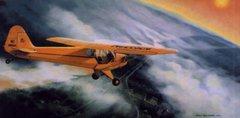 "Burt Mader Print ""Evening Joyride"" Piper J-3 Cub  ART-0116"