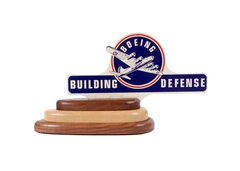 "License Plate Topper with Wood Base, ""Boeing...Building Defense""  OFF-0107"