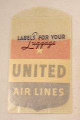 Vintage 1944 United Air lines Luggage Label in Original Sleeve  EPH-0106