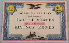 Original WW II Postal Savings Plan Defense Bond Booklet New Old Stock EPH-0109