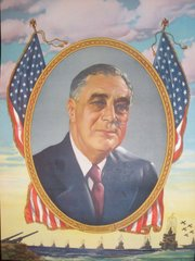 "Original WW II FDR Lithograph marked ""Copr. C. Moss 1942 Litho in USA""  ART-0103"