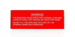 Boeing B-17 Flying Fortress Warning Placard  PLA-0109