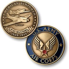 North American Aviation P-51 Mustang, U. S. Army Air Corps Challenge Coin  NTM-16025