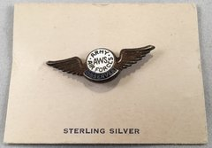 Original WW II USAF Observer Wings on Card, Sterling  ONE-0108