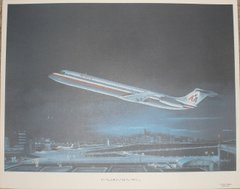 """""""Hometown International"""" Lithograph, American Airlines DC-9  ART-0112"""