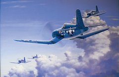 "Domenic DeNardo Print, F4U Corsair ""Salute to the Jolly Rogers"""