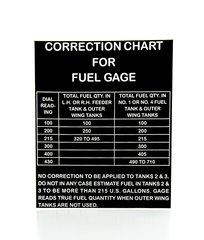B-17 Flying Fortress Correction Chart for Fuel Gage  DEC-0131