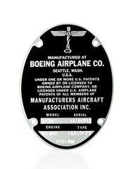 Boeing B-29 Superfortress Data Plate  DPL-0102