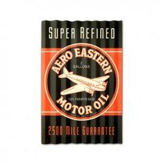 "Corrugated Steel Aero Eastern Motor Oil Sign, 16"" X 24"",  Distressed to Look Old SIG-0155"