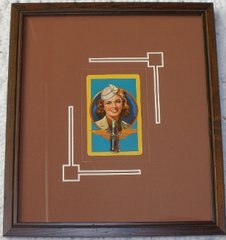 Art Deco Coca Cola Airline Stewardess Framed Playing Card, 1943  ART-0106