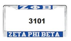 Greek Letter and Zeta Phi Beta License Frame