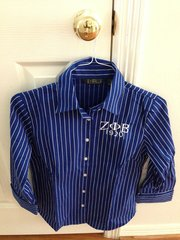 3/4 Length Royal and White Pin-Stripe Dress Shirt
