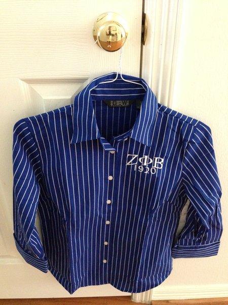 3/4 Length Royal and White Pin-Stripe Dress Shirt