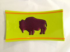 Red and Yellow Buffalo Glass Dish