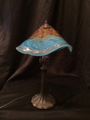 Blown Glass Lamp Light Blue with Red Feathers