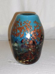 Hand Blown Blue and Multi-Colored Glass Vase