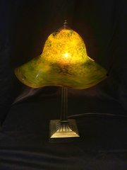 Blown Glass Lamp Yellow and Green with Dichroic Glass