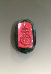 Roycroft Artisan Red and Green Glass Pin