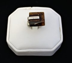 Square Amber Ring in Sterling Silver