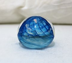 Hand Blown Blue Swirled Glass Paperweight