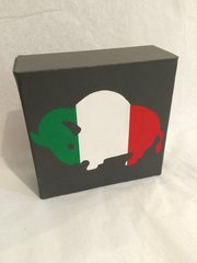 Buffalo Canvas, Green, Red, and White, with Grey bkg
