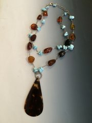 Larimar / Amber / Tortoise Shell Necklace