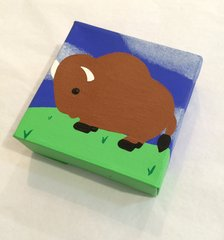 Buffalo Canvas, Brown with Green and Blue bkg