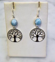 Larimar Tree Of Life Earrings