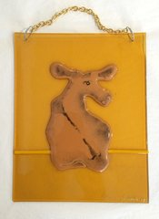 Jersey Cow Hanging Glass Panel