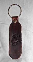 Buffalo Leather Keychain Dark Brown