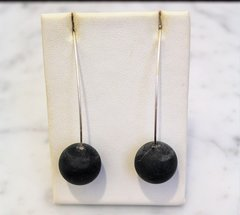 Brushed Black Amber Ball Earrings
