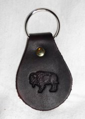 Buffalo Leather Keychain Black
