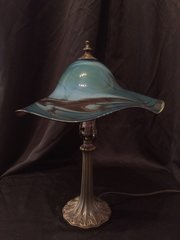 Blown Glass Lamp Blue & Brown