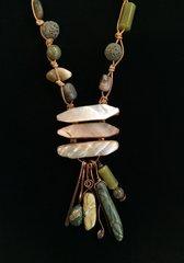 Jasper, Shell and Lava Stone Necklace