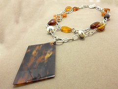 Amber and Tortoise Shell Necklace