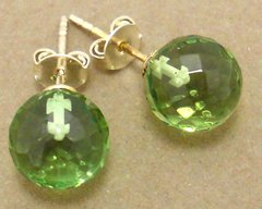 Faceted Green Amber Post Earrings