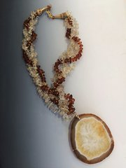 Amber/Citrine Geode Necklace