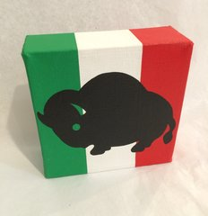 Buffalo Canvas, Black with Green, White and Red bkg
