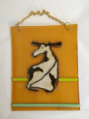 White and Yellow Hanging Cow Glass Panel