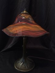 Blown Glass Lamp Brown and Red Large